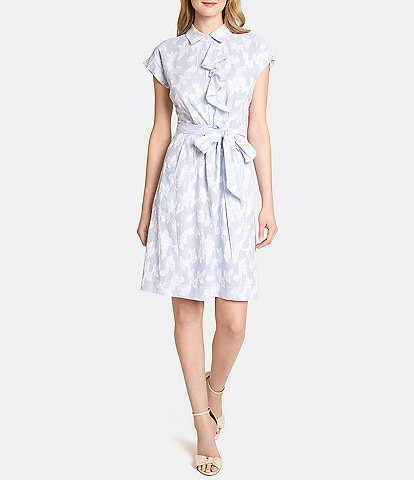Tahari ASL Petite Size Ruffle Floral Seersucker Short Sleeve Shirt Dress
