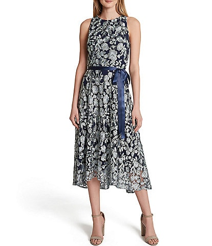 Tahari ASL Petite Size Sleeveless Floral Embroidered Mesh Satin Ribbon Tie Waist A-Line Midi Dress