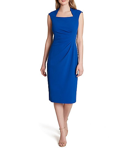 Tahari ASL Petite Size Square Neck Side Ruched Sleeveless Midi Sheath Dress