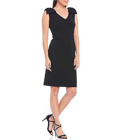 Tahari ASL Petite Size V-Neck Bow Shoulder Scuba Crepe Sheath Dress