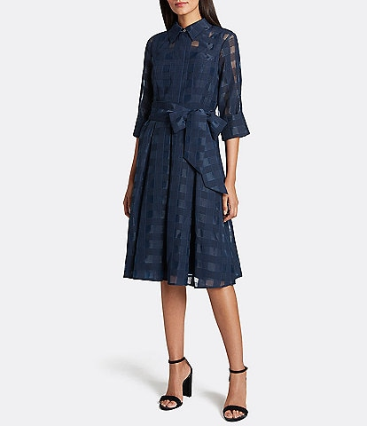 Tahari ASL Plaid Burnout Organza Shirt Dress