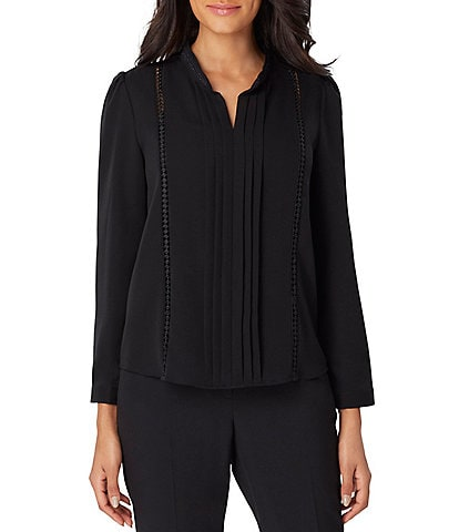 Tahari ASL Pleat Front Braid and Lace Trim Georgette Top