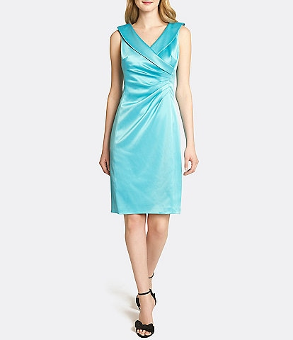 Tahari ASL Portrait Collar Stretch Satin Sheath Dress