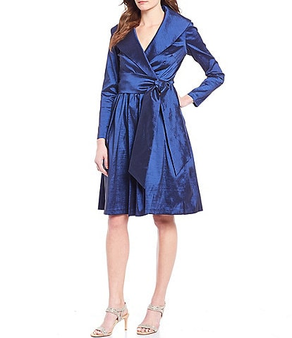 Tahari ASL Portrait Collar Taffeta Faux Wrap Dress