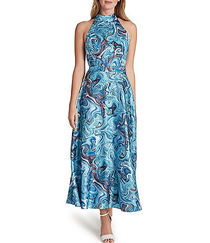 Tahari ASL Printed Midi Charmeuse Sleeveless A-Line Dress