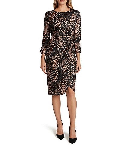 Tahari ASL Printed Stretch Crepe Side Gather 3/4 Sleeve Dress