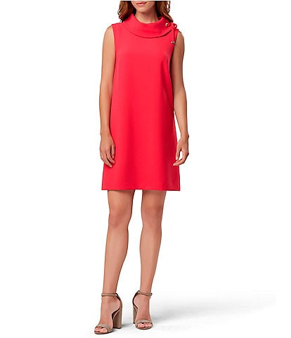 Tahari ASL Roll Neck Sleeveless Shift Dress