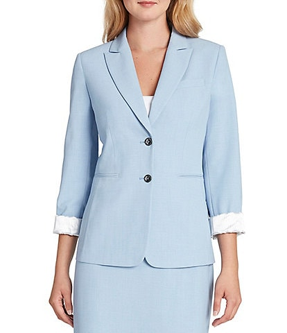 Tahari ASL Roll Sleeve Bi-Stretch Two Button Jacket