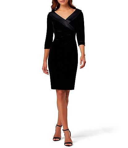 Tahari ASL Satin V-Neck 3/4 Sleeve Side Ruched Stretch Velvet Sheath Dress