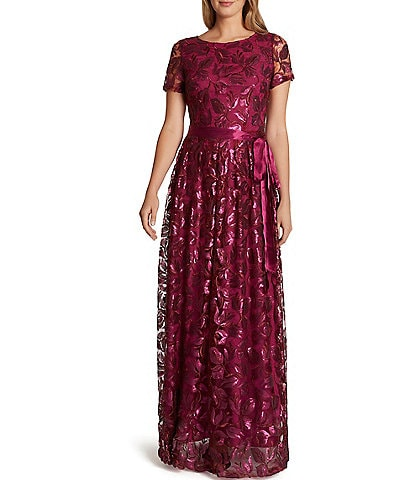 Tahari ASL Sequin Embroidered Mesh A-Line Gown