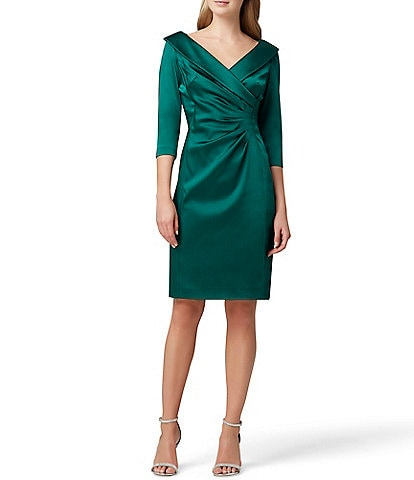 Tahari ASL Shawl Collar Ruched Waist Satin Cocktail Dress