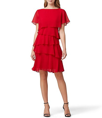 Tahari ASL Short Flutter Sleeve Tiered Chiffon Dress