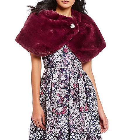 Tahari ASL Side Button Faux Fur Capelet