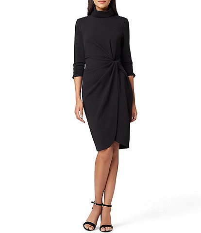 Tahari ASL Side Ruched Mock Neck Crepe Dress