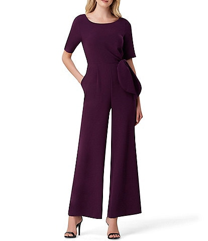 Tahari ASL Side Tie Crepe Wide Leg Jumpsuit