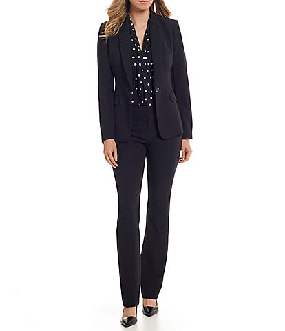 Tahari ASL Single Button Flap Pocket Jacket & Straight Leg Ankle Pant