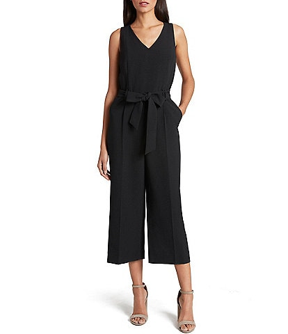 Tahari ASL Sleeveless Crepe V-Neck Cropped Wide Leg Jumpsuit