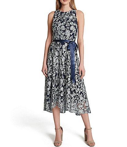 Tahari ASL Sleeveless Floral Embroidered A-Line Midi Dress