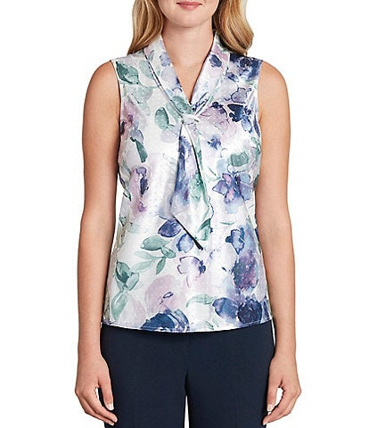Tahari ASL Sleeveless Floral Printed Sailor Top