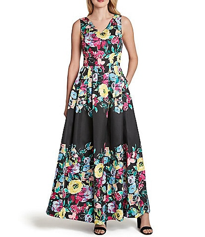 Tahari ASL Sleeveless Floral Printed V-Neck Pocket Maxi Dress