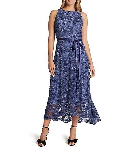 Tahari ASL Jewel Neck Sleeveless Subtle Sparkle Soutache Lace High-Low Midi Dress