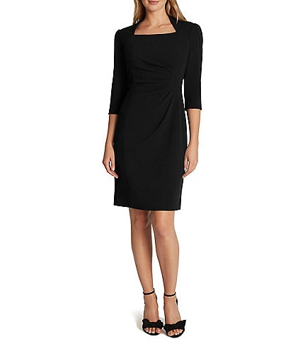 Tahari ASL Square Neck 3/4 Sleeve Side Ruched Stretch Crepe Sheath Dress