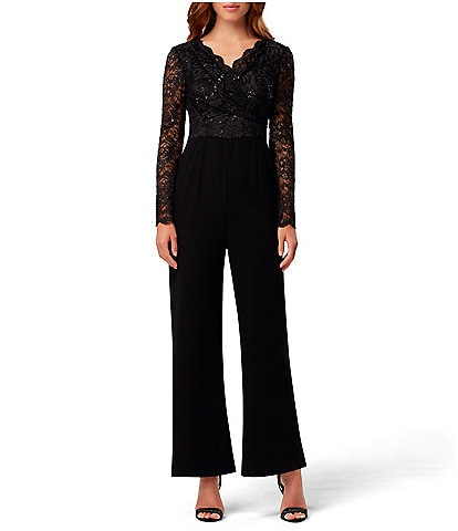Tahari ASL Sequin Lace V-Neck Crepe Jumpsuit
