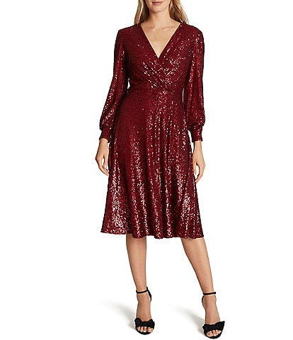 Tahari ASL Stretch Allover Sequin Faux Wrap Midi Dress