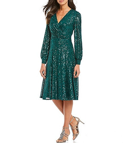 Tahari ASL Stretch Allover Sequin Faux Wrap Dress