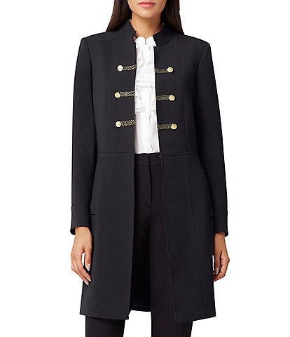 Tahari ASL Stretch Woven Double Weave Military Topper Jacket