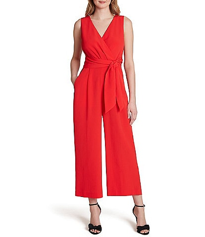 Tahari ASL Surplice V-Neck Sleeveless Cropped Jumpsuit