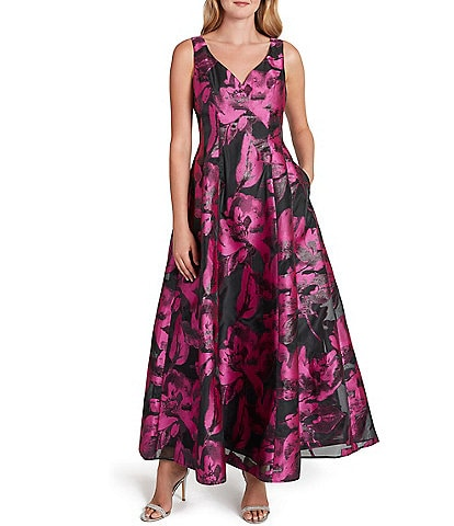 Tahari ASL Sweetheart V-Neck Sleeveless Floral Organza Jacquard Ball Gown with Pockets