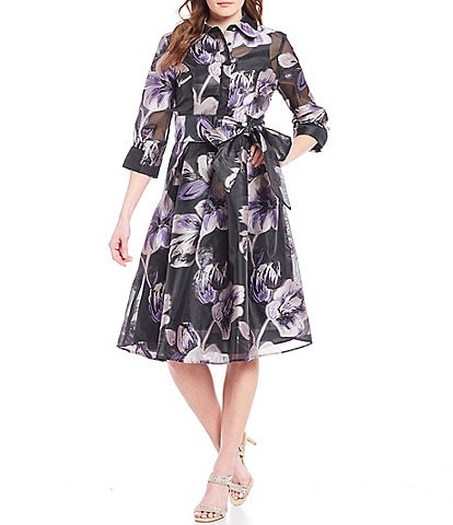 Tahari ASL Tie Waist Floral Print Shirt Dress