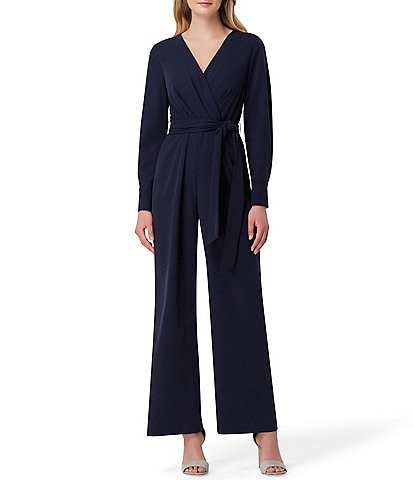 Tahari ASL Tie Waist Surplice V-Neck Stretch Dobby Long Sleeve Jumpsuit