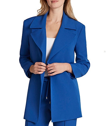 Tahari ASL Twill Long Sleeve Notch Collar Pocket Topper
