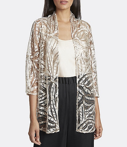 Tahari ASL Twin Set Social Sequin Embroidered Cardigan and Camisole
