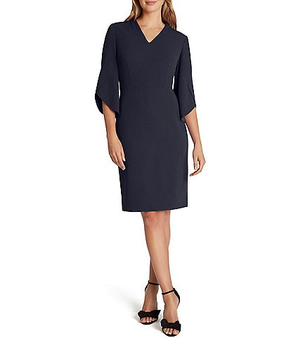 Tahari ASL V-Neck 3/4 Tulip Sleeve Stretch Scuba Crepe A-Line Dress