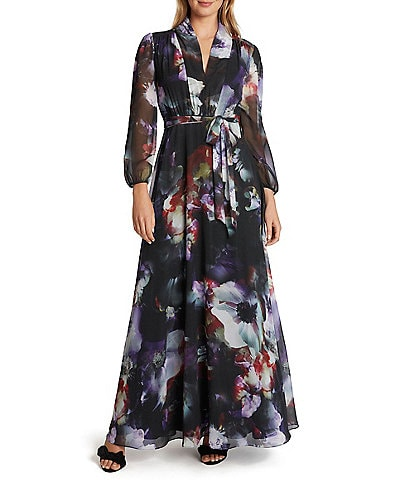 Tahari ASL V-Neck Floral Printed Chiffon Maxi Dress