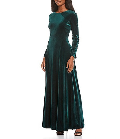 Tahari ASL Velvet Button Sleeve A-Line Gown