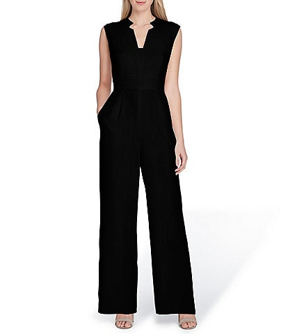 Tahari by ASL Raised Collar Sleeveless Solid Crepe Jumpsuit