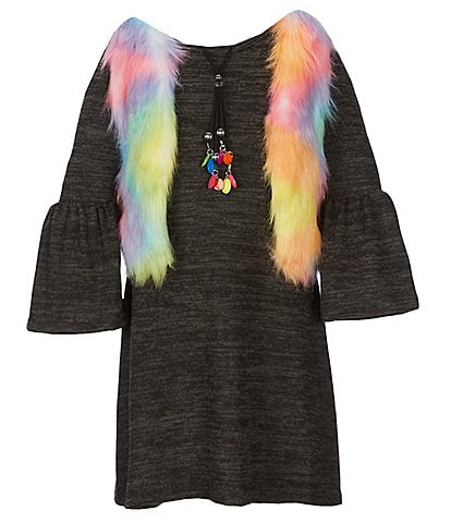 Takara Big Girls 7-16 Bell-Sleeve Shift Dress & Faux Fur Vest Set
