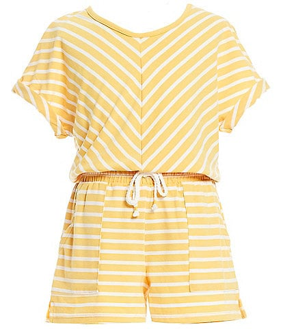 Takara Big Girls 7-16 Short-Sleeve Striped Elastic-Waist Romper