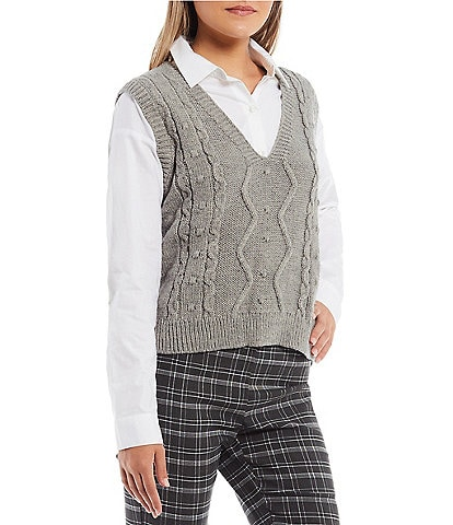 Takara Cozy Acrylic-Blend Cable-Knit Sweater Vest