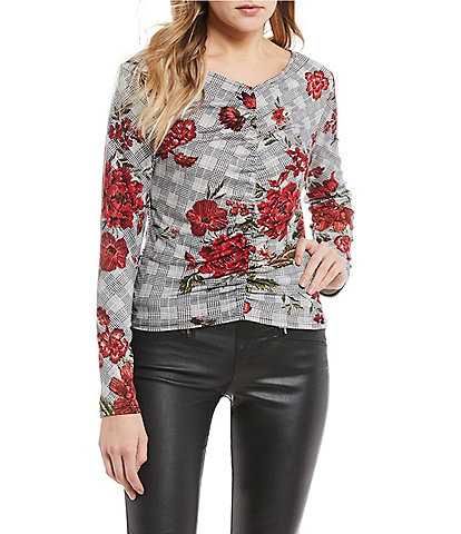 Takara Floral Print Cinched Front Top