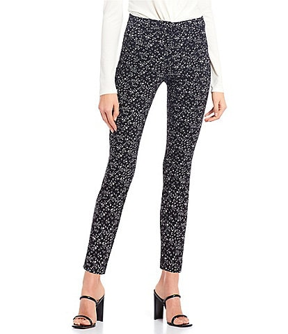 Takara Floral Print Front-Zipper Ankle Pants