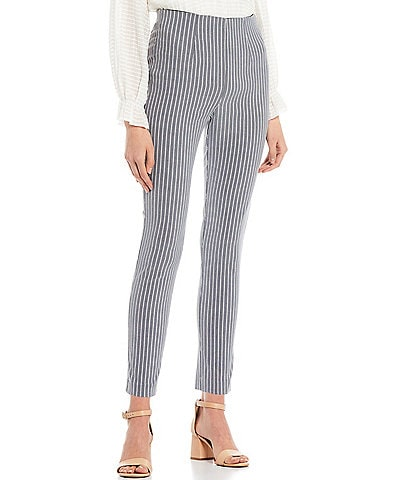 Takara High-Waisted Stripe Printed Pull-On Skinny Pants