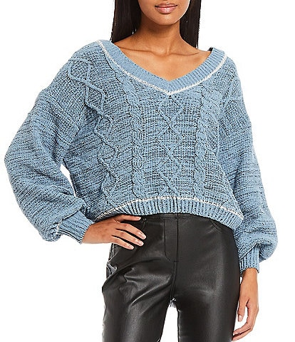 Takara Long-Sleeve Cabled Marled Matte Chenille Cozy Knit Sweater