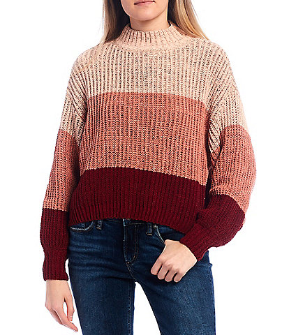 Takara Mock Neck Ombre Stripe Long-Balloon-Sleeve Sweater