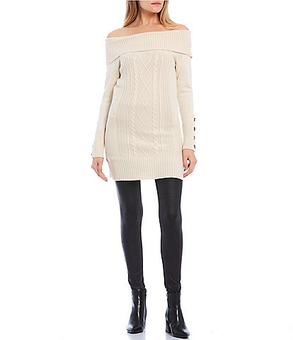 Takara Off-the-Shoulder Tunic Cable Knit Sweater
