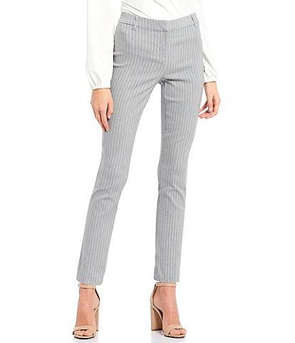 Takara Pin Stripe Front-Zipper Ankle Pants